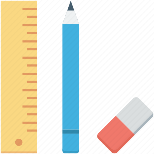 draft tools, drawing tools, pencil, rubber, scale icon