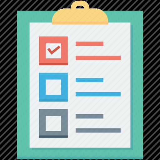 Checklist, memo, clipboard, list, shopping list icon