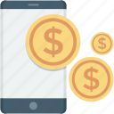 dollar, mobile, mobile banking, online payment icon