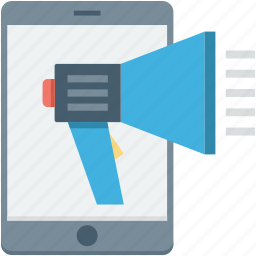 advertising, bullhorn, mobile, mobile marketing, promotion icon