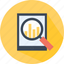 analytics, business, chart, profits, statistics, stats, tablet icon