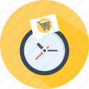 cart, clock, store, supermarket, time, watch icon