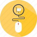 cart, clicker, commerce, mouse, shopping, store icon