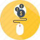 clicker, electronic, money, mouse, profit, technology icon