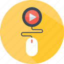 clicker, money, mouse, play, profit, video icon
