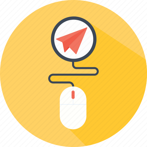 airplane, clicker, message, mouse, paper, plane, send icon