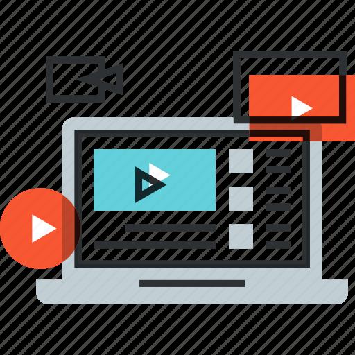 advertising, laptop, marketing, play, promotion, seo, video icon