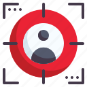 target, subject, purpose, objective, process, network, marketing icon