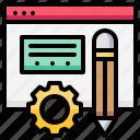 blog, browser, gear, pencil, setup, web, website icon