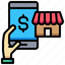 dollar, e, hand, online, shop, smartphone icon