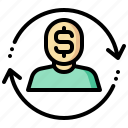 arrow, exchange, human, man, money, rotation icon