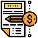 article, currency, dollar, money, pencil, report icon