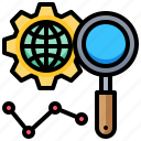 analysis, find, global, graph, magnify, search, world icon