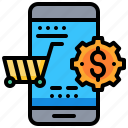 cart, dollar, mobile, shopping, smartphone, technology icon