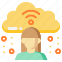 cloud, communication, data, girl, streaming, woman icon