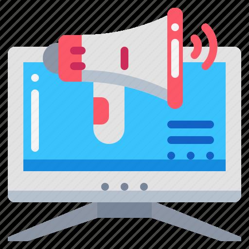 advertising, broadcast, computer, marketing, megaphone, technology icon