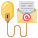 data, email, file, letter, mail, mouse icon