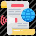 global, megaphone, report, speaker, world icon