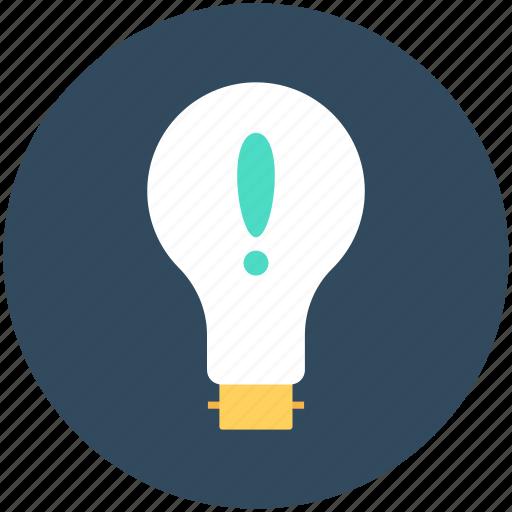 bulb, exclamation, light, light bulb, luminaire icon