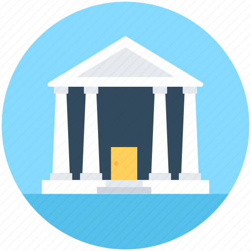 bank, building, columns building, court, real estate icon