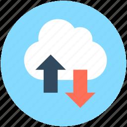 cloud computing, cloud download, cloud hosting, cloud network, cloud upload icon