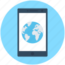 global communication, globe, internet connection, mobile, mobile internet icon