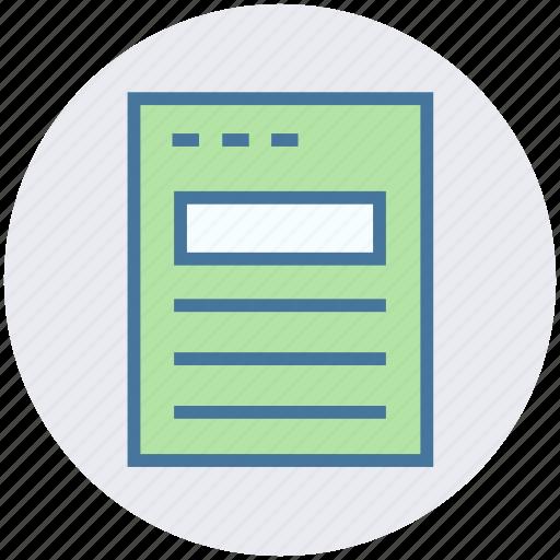 digital marketing, document, list, page, webpage icon