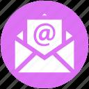 at, digital, envelope, mail, message, open envelope, open letter