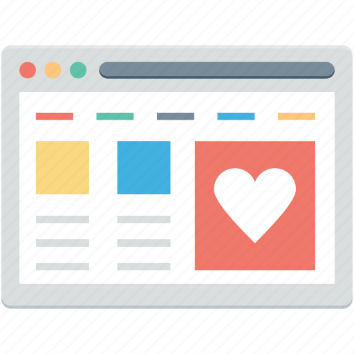 heart, shopping web, web layout, web page, website icon