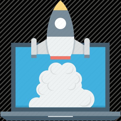 build site, create website, laptop, rocket, web startup icon
