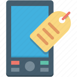 cell phone, label, mobile, smartphone, tag icon