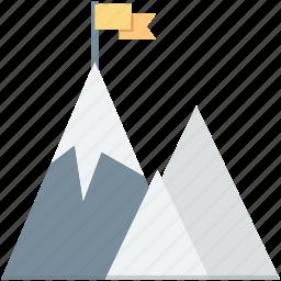 achievement, mountain flag, mountain peak, rock climbing, success icon