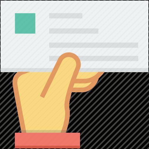 bill, cheque, hand gesture, payment, voucher icon
