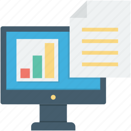 monitor, online documents, online graph, sales report, seo report icon