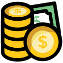dollar, money, pile of coins, savings, wealth icon
