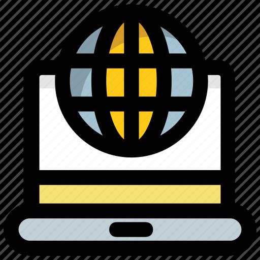 communication technology, global communication, global network, information technology, laptop world icon
