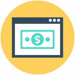 dollar, online earning, online money, online payment, paper money icon