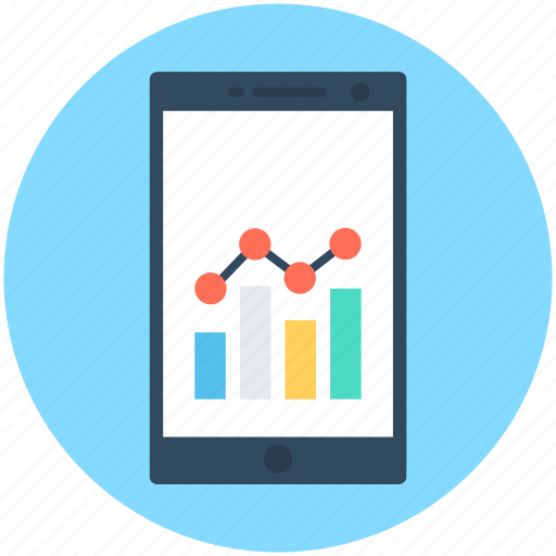 cell phone, mobile, mobile graph, online graph, stats icon
