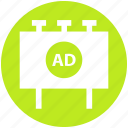ad board, advertisement, advertising, billboard, digital marketing, sign board icon