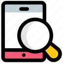 mobile discovery, mobile exploration, mobile magnifier, mobile marketing concept, mobile search icon