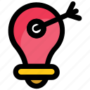 bulb target, creative and idea, creative light bulb, lightbulb target, target idea icon