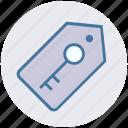 digital, key, key tag, password, protection, tag icon