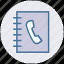 address book, book, contact, digital marketing, phone, phone book icon