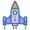 and, business, launching, marketing, rocket, startup icon
