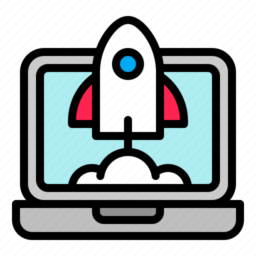 business, digital, laptop, marketing, rocket, startup icon