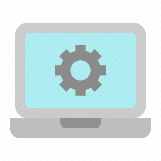 digital, gear, laptop, marketing, service, setting icon