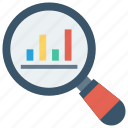 analysis, chart, graph, magnifier, research icon