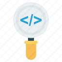 coding, find, magnifier, research, script icon