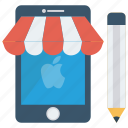 ecommerce, edit, mobile, online, shopping icon
