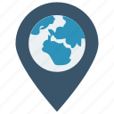 gps, location, map, pin, world icon